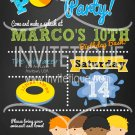 Boy Pool Party Birthday Bash Invitation, End of School Bash, Summer Party Invitation