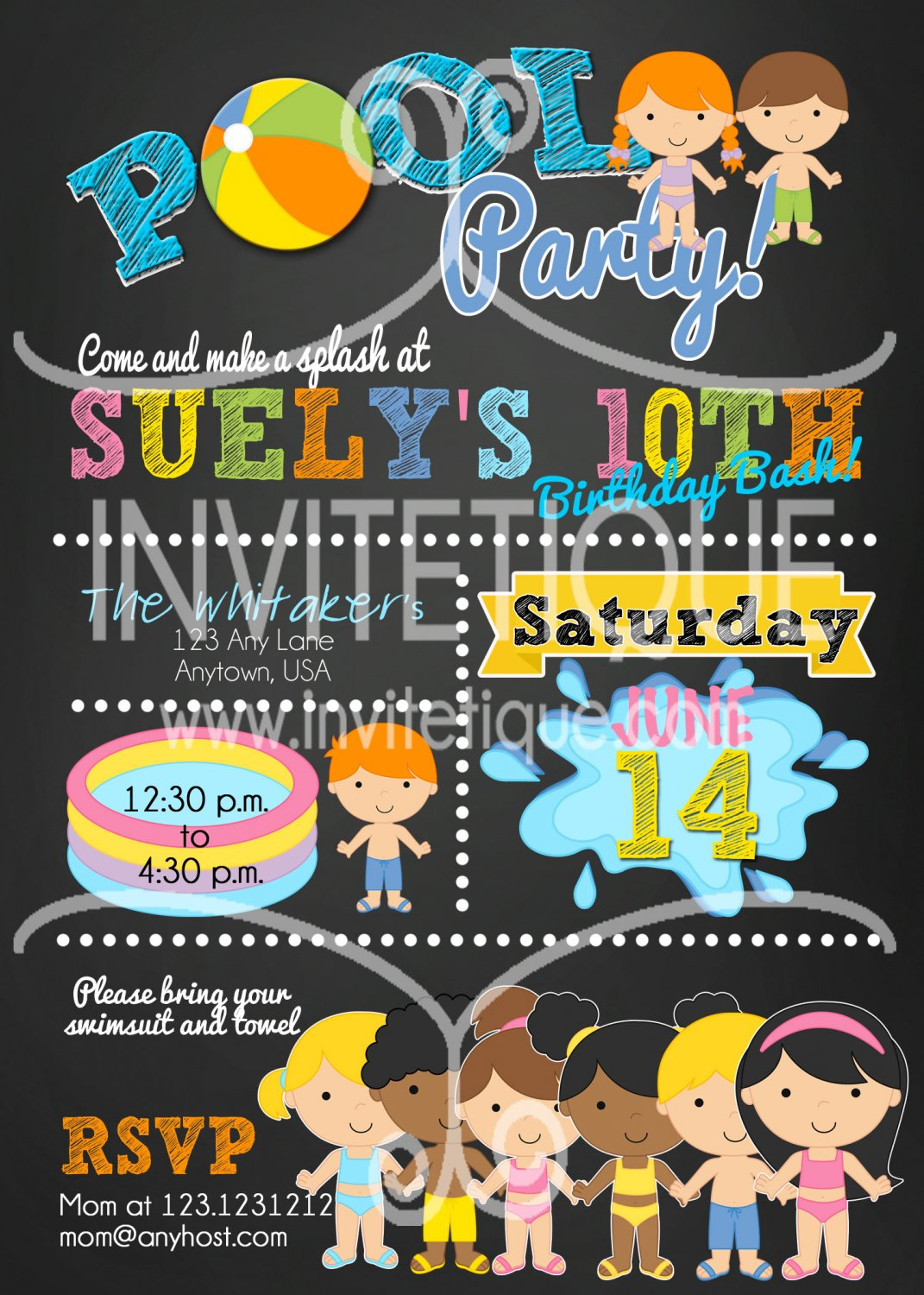 Kids Pool Party Birthday Bash Invitation, End of School Bash, Summer Party Invitation