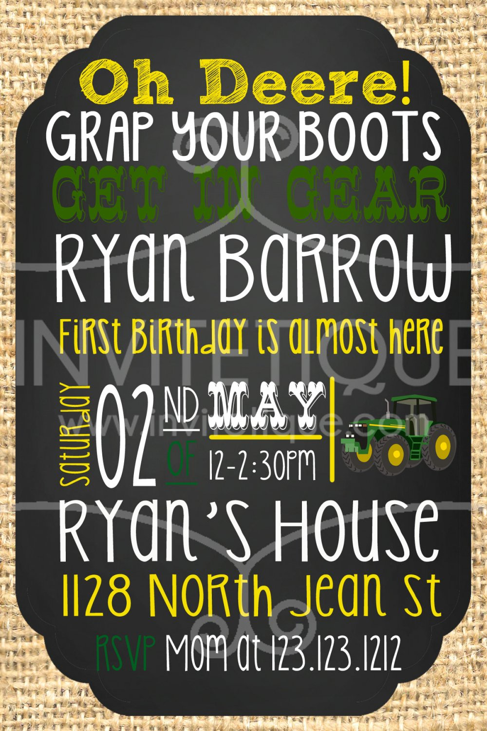 Green Tractor Birthday Invites | Tractor | DIGITAL FILE | PRINTABLE