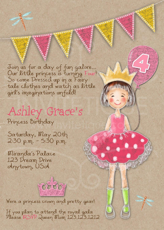 Princess Party Invitation | Princess Birthday Invitation | Pink Princess Invitation | girl Birthday