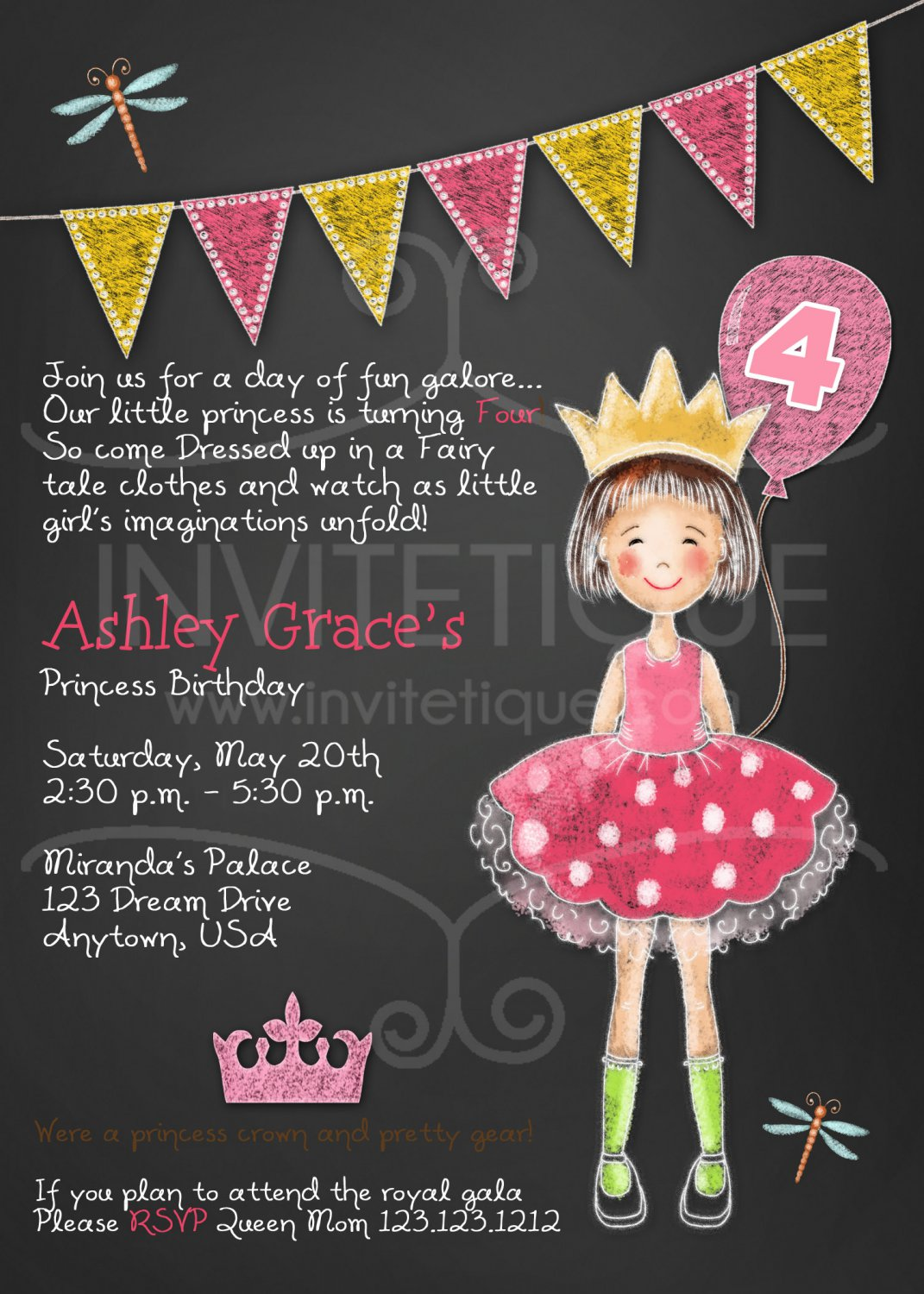 Princess Party Invitation | Princess Birthday Invitation | Pink Princess Invitation | Girl Birthday