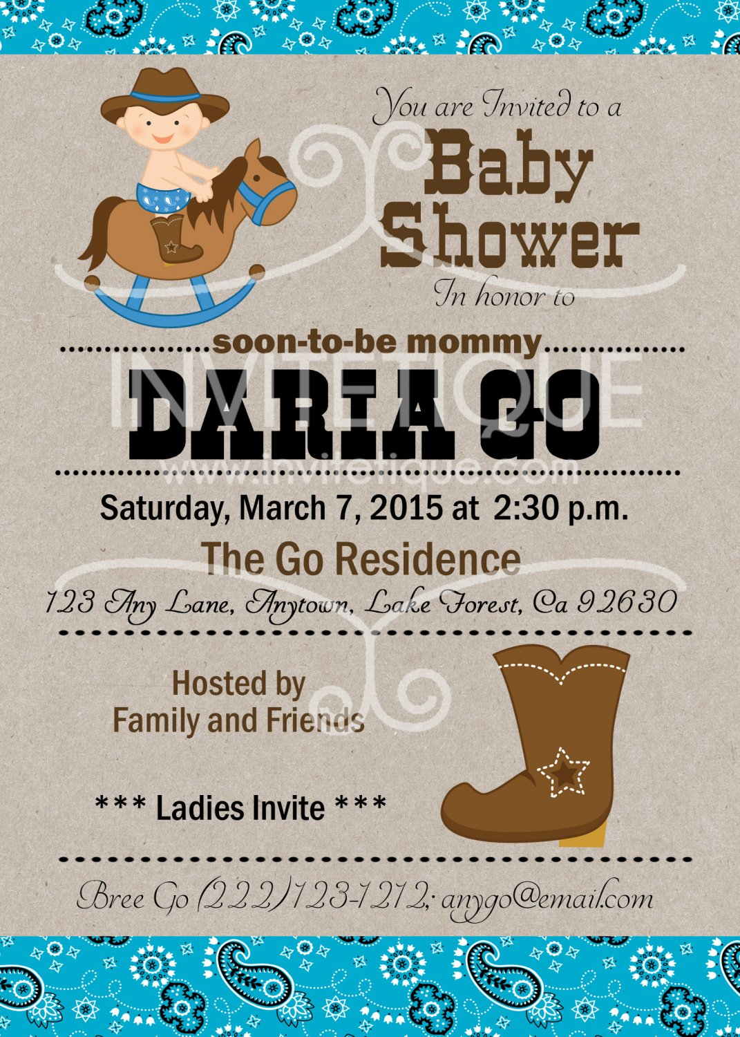 Western Cowboy Baby Shower | Western Baby Shower| Birthday | Cowboy Invitations