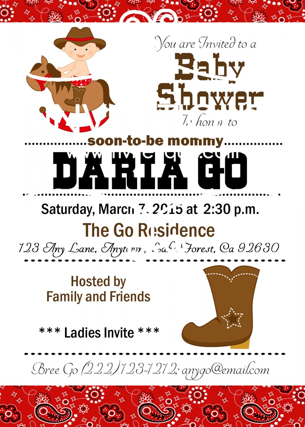 Western Baby Shower| Western Cowboy Baby Shower | Birthday | Cowboy Invitations