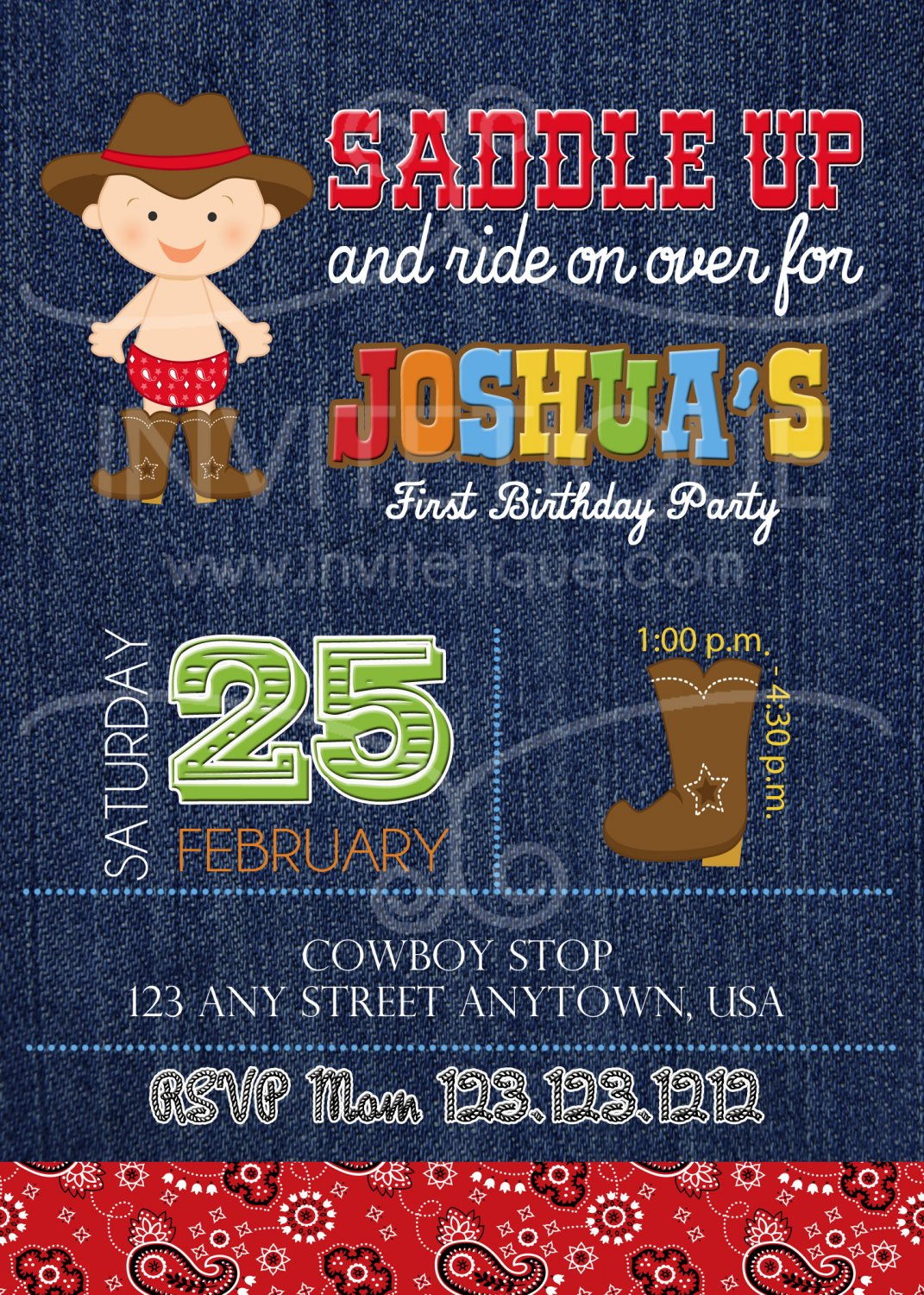 Cowboy invitation - Western Denim party | First birthday | Boy Birthday party | Baby shower