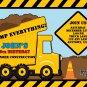 Yellow Dump Truck Construction Zone Birthday Invitations