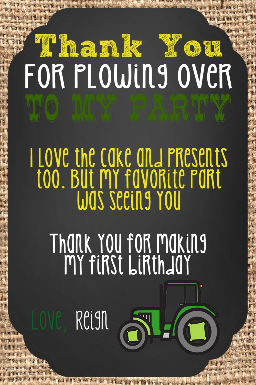 Green Tractor tan Burlap Thank you notes