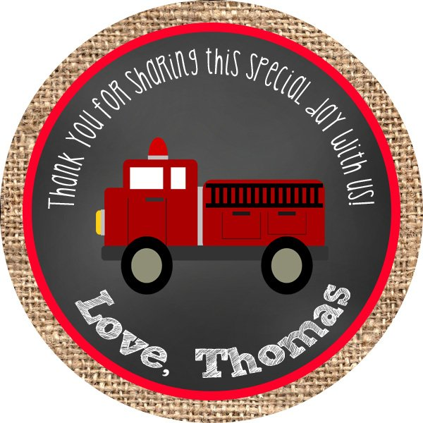 Firetruck Burlap Circle Favor Tags