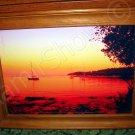 *Boats at St.Andrew Island. Croatia* Natural linen CANVAS artwork mixed media