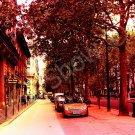 *Morning Paris Streets* fine colorful NATURAL LINEN CANVAS artwork