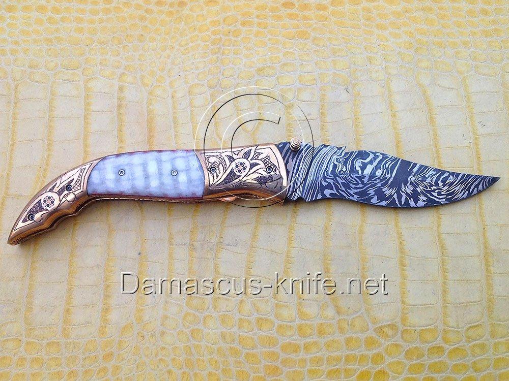 Antique-IV Custom Damascus Handmade Folding Knife - Liner Lock (ARS-807)