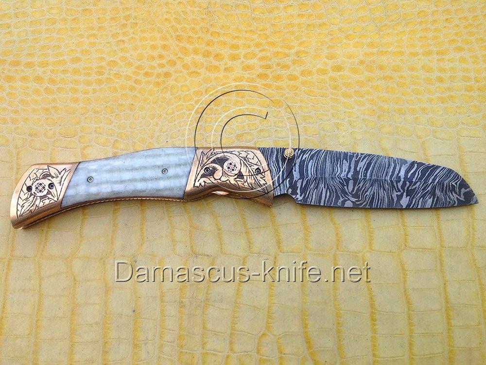 Antique-II Custom Damascus Handmade Folding Knife - Liner Lock (ARS-805)