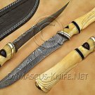 Handmade Damascus Steel Collectible Hunting Knife Bone Handle DHK883