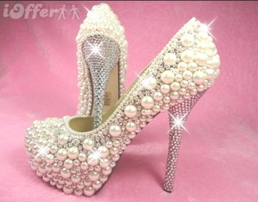 Hand made Pearl and Crystal Bridal Formal Pump
