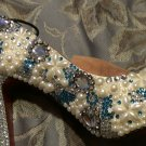Custom hand made crystal and pearl bridal pump