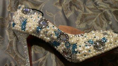 Custom hand made crystal and pearl bridal pump