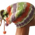 Hand knitted Ladies hat beanie with tassels and pompons - wool and acrylic yarn
