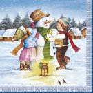 20 Paper Napkins for Decoupage, Collage - Christmas Theme Snowman and children