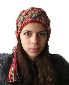 Hand knitted Woman's / Unisex warm colored hat with a long tail and fringe