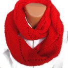 Soft and warm long hand knit infinity circle lady's scarf. Free Shipping!