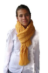 Soft, Hot, Long and impressive hand knitted woman's scarf with tassels