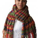 Soft, Hot, Long, Wide, thick and impressive hand knitted woman scarf w/t tassels