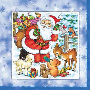 20 pcs Paper Napkins for Decoupage, Collage - Christmas Theme with Santa Claus