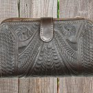 Ropin West Black Hand Tooled Leather Wallet