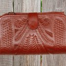 Ropin West Red Hand Tooled Leather Wallet