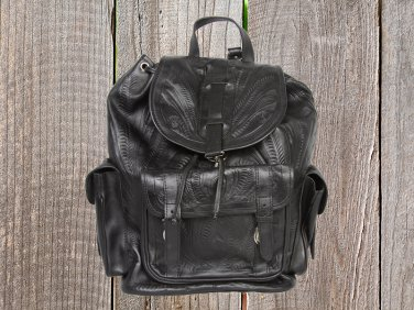 Ropin West Black Hand Tooled Leather Backpack - XLarge