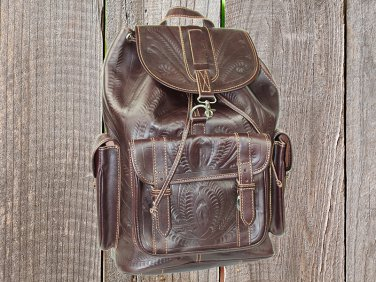 Ropin West Brown Hand Tooled Leather Backpack - XLarge