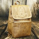 Ropin West Natural Tooled Leather Small Backpack Purse - RW283