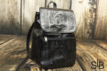 Ropin West Black Tooled Leather Small Backpack Purse - RW283