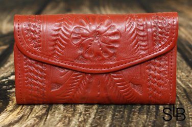 Tooled Leather Red Checkbook Wallet - RW6468