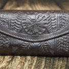 Tooled Leather Brown Checkbook Wallet - RW6468