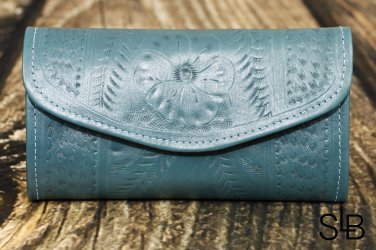 Tooled Leather Turquoise Checkbook Wallet - RW6468