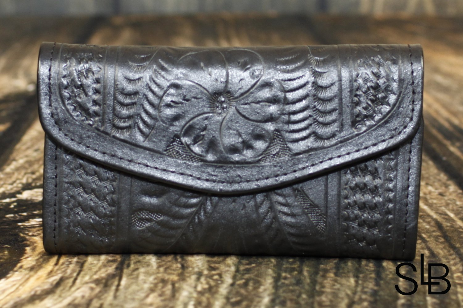 Tooled Leather Black Checkbook Wallet - RW6468