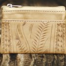 Ropin West Natural Tooled Leather Coin Purse - RW967