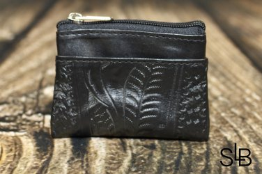 Ropin West Black Tooled Leather Coin Purse - RW967