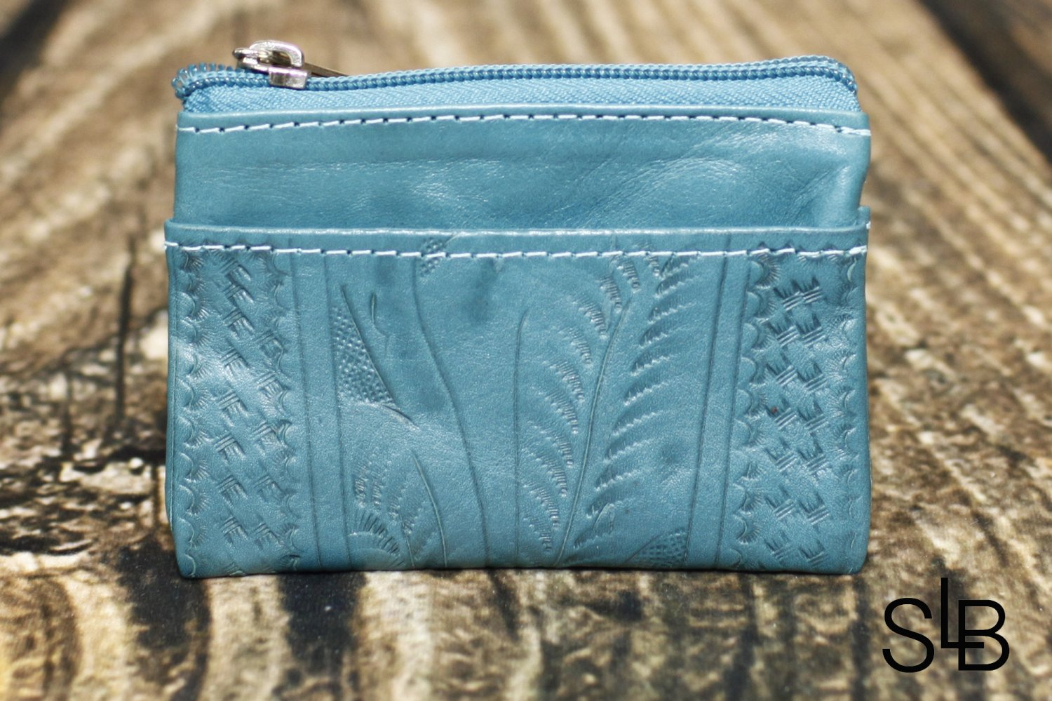 Ropin West turquoise Tooled Leather Coin Purse - RW967