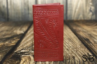 Ropin West Red Tooled Leather Checkbook Cover - RW567