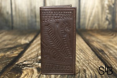 Ropin West Brown Tooled Leather Checkbook Cover - RW567