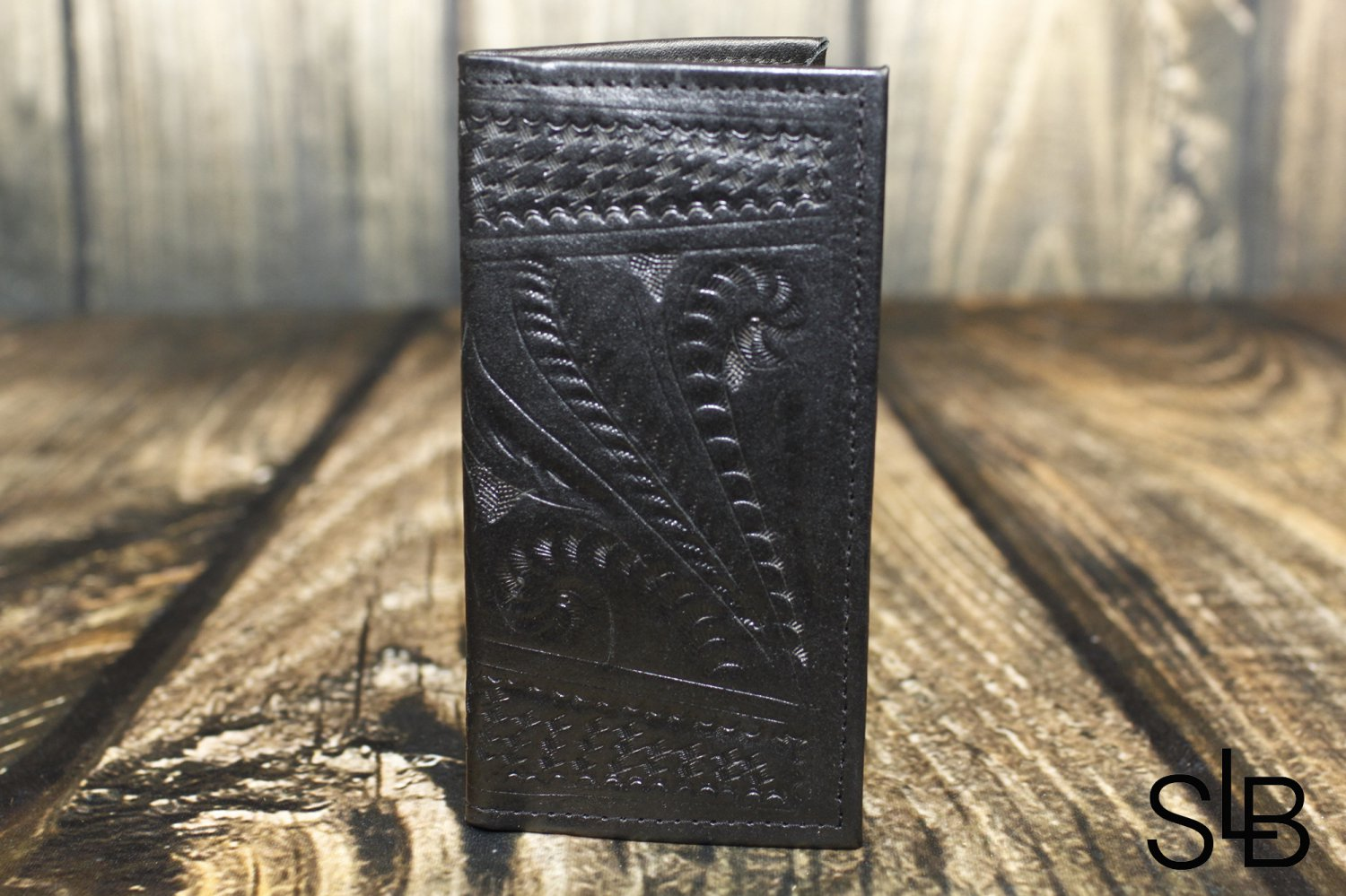 Ropin West Black Tooled Leather Checkbook Cover - RW567