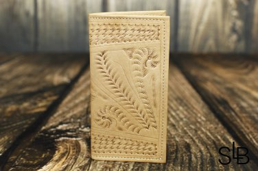 Ropin West Natural Tooled Leather Checkbook Cover - RW567
