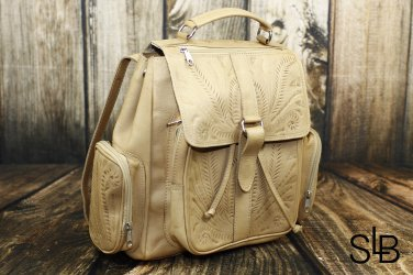 Ropin West Natural Tooled Leather Backpack - RW607