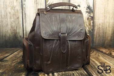 Ropin West Brown Tooled Leather Backpack - RW607