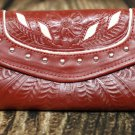 Tooled Leather Filigree Wallet - Red-Pearl - RWE6468