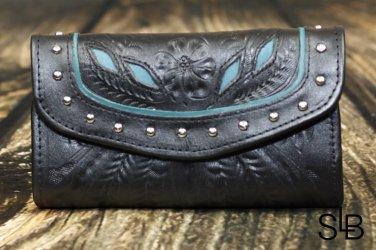 Tooled Leather Filigree Wallet - Black-Turquoise - RWE6468