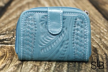 Tooled Leather Coin Wallet - Turquoise - RW421