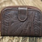 Tooled Leather Coin Wallet - Brown - RW421