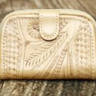 Tooled Leather Coin Wallet - Natural - RW421